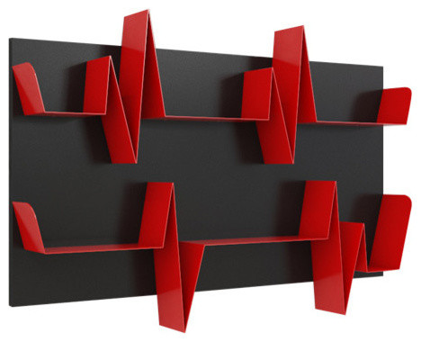 Mabele Battikuore Bookshelf, Black And Red, Small, 2 Shelves, Horizontal.