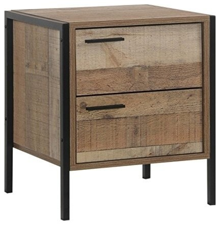 fbed0a0b1e Rustic Bedside Table, Solid Pine Wood With Metal Frame and 2 Storage Drawers