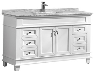 Moreno Fayer 60 White Freestanding Vanity With Carrera Marble Top Transitional Bathroom