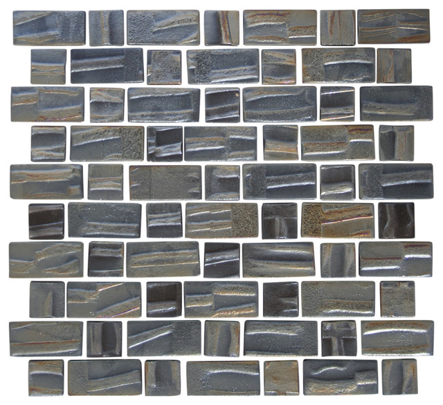 Dark Gray Metallic Recycled Glass Tile Contemporary Wall And
