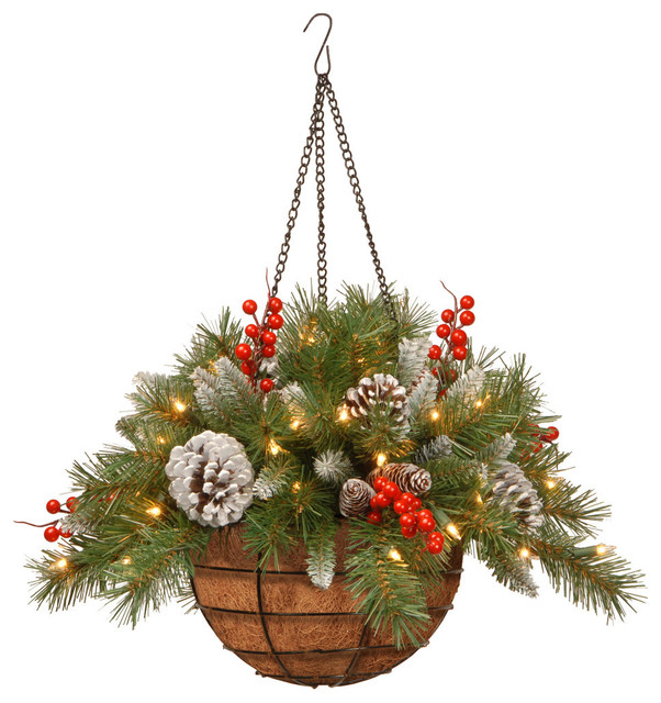 """20"""" Frosted Berry Hanging Basket With Battery Operated Warm White LED Lights"""