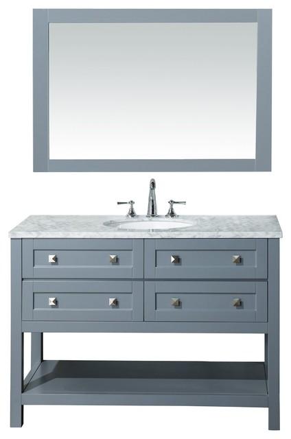 """Marla Bathroom Vanity With Mirror, Gray, 48"""""""