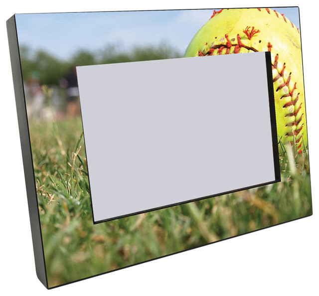 Softball Black Wood Edge 4x6 Picture Frame - Contemporary - Picture ...