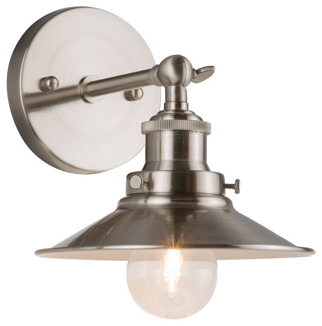 Andante Wall Sconce With Bulb, Brushed Nickel.