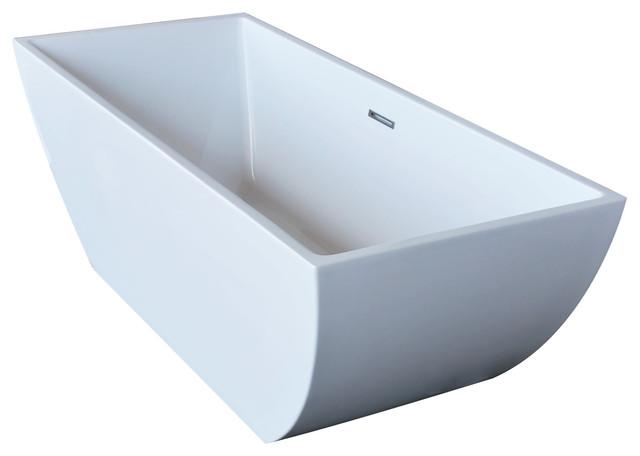Anzzi Rook 5.6 Ft. Acrylic Center Drain Freestanding Bathtub.