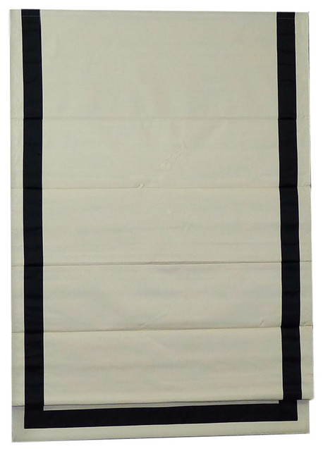 "Slumbra Thermal-Backed Roman Shade With Ribbon Border, Black, 34""x63""."