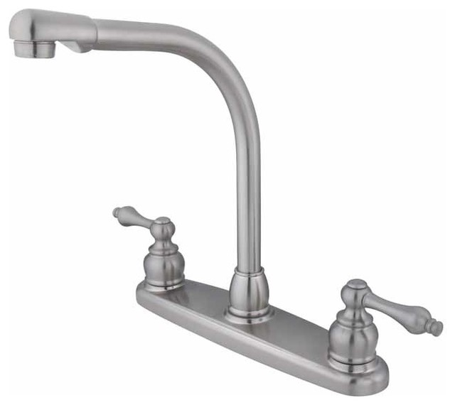 Shop Houzz Kingston Brass Classic Victorian Satin Nickel Kitchen Faucet Kitchen Faucets