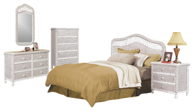 Santa Cruz Wicker and Rattan 5 Piece Tropical Bedroom Set, White