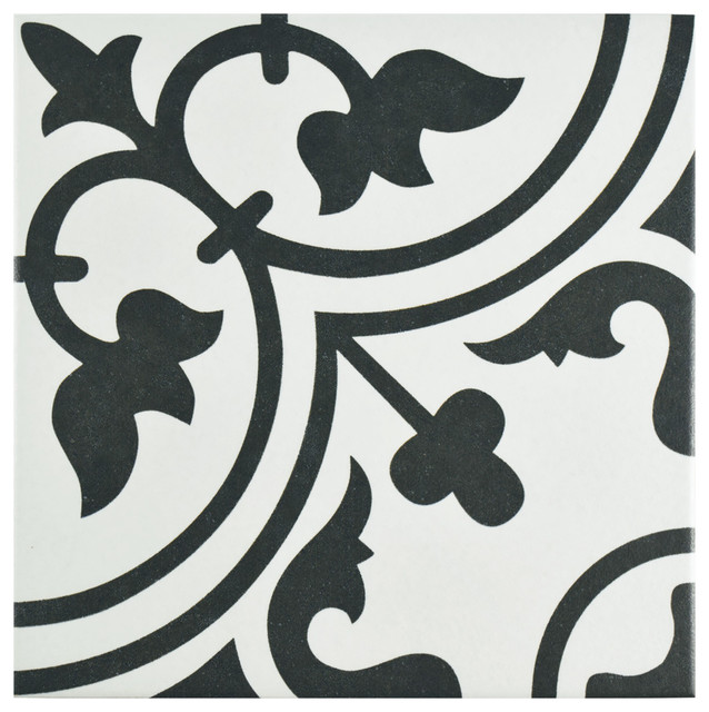 "Kaligaris Porcelain Art Tiles, Set Of 16, 9.75""x9.75"", White."