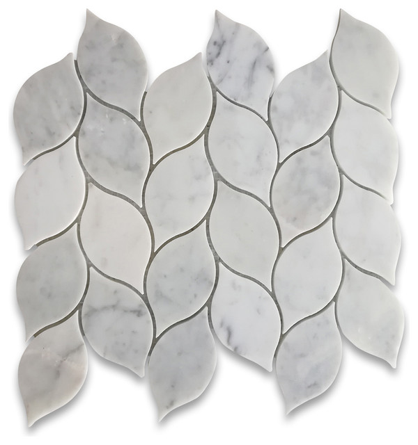 Carrara White Marble Medi Leaf Shape Mosaic Tile Polished