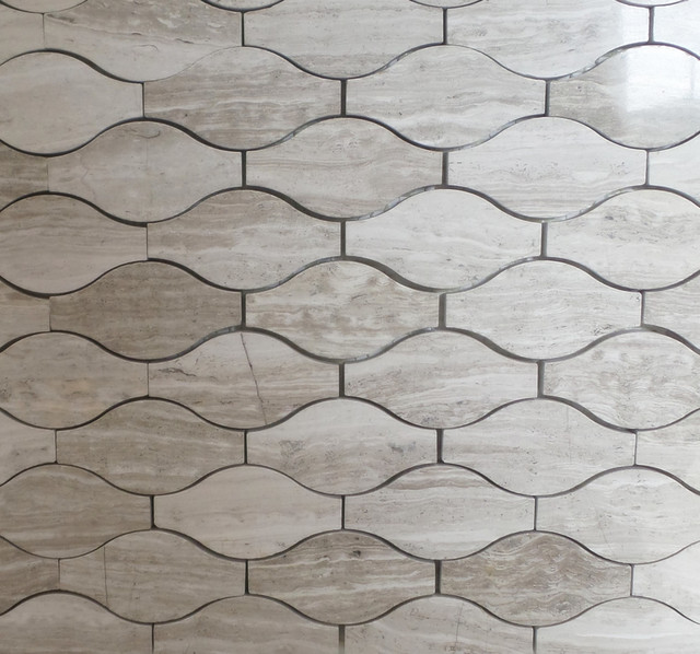 Wave Pattern Marble Mosaic Tiles 12 X12 Wood Gray