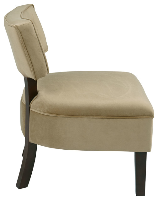 Ave Six Curves Button Accent Chair In Velvet Fabric