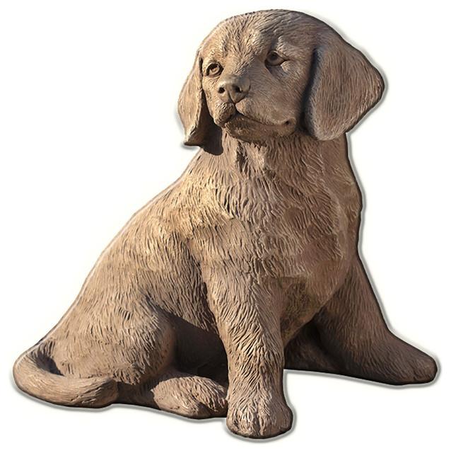 Golden Retriever Puppy Cast Stone Garden Statue