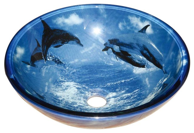 Tempered Glass Vessel Sink With Drain, Dolphin Design Blue Bowl Sink  Modern Bathroom