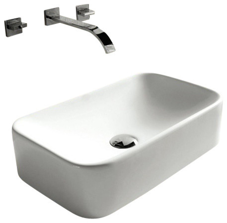 Small Rectangular Vessel Sink : Rectangular White Ceramic Vessel Bathroom Sink - Contemporary ...