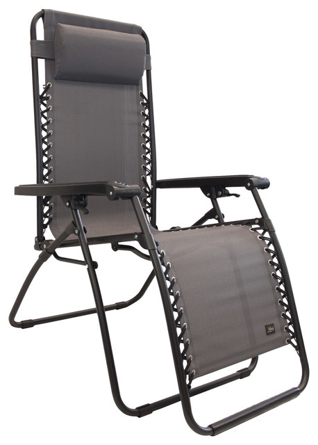 Bliss Hammocks Gravity Free Lounger With Pillow With Canopy In Dark Gray.