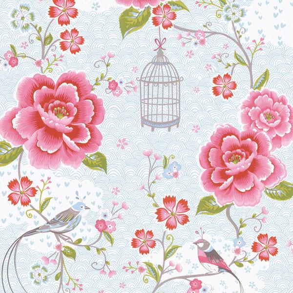 Light Blue Floral Birds Trail Wallpaper Bolt