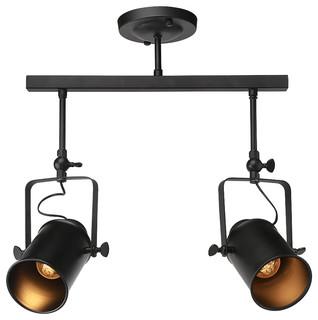 Adjustable 2 Light Track Lighting Black Industrial