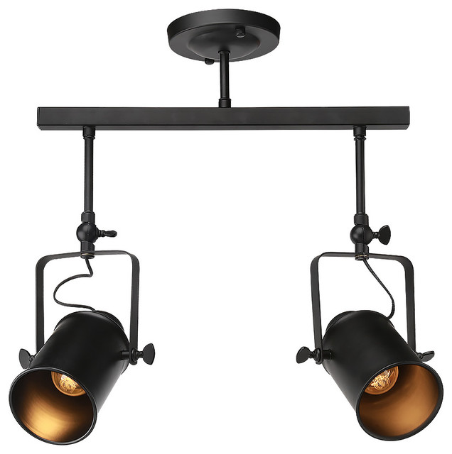 Viole 2 light track lighting ceiling pendant industrial for Industrial lamp kit