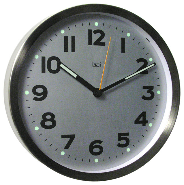 10 brushed stainless steel wall clock silver wall. Black Bedroom Furniture Sets. Home Design Ideas