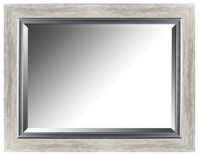 "Hobbitholeco 27.25""x35.25"" Silver Leaf Gradient Frame With Liner Beveled Mirror."