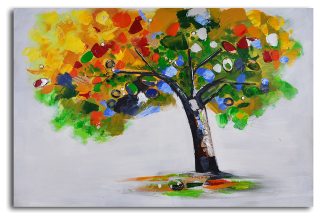 bejeweled papered tree handpainted canvas art