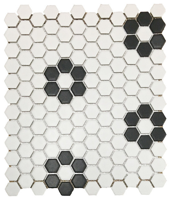 "12""x12"" Retro Hexagon White With Black Flowers Matte Porcelain Mosaic."