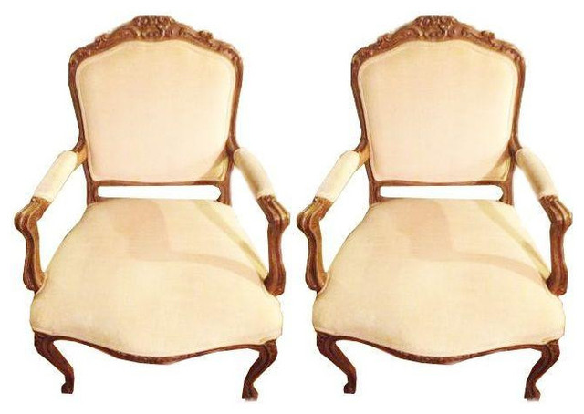 Marvelous Louis XIV Chairs In White Velvet   A Pair Victorian Armchairs And Accent