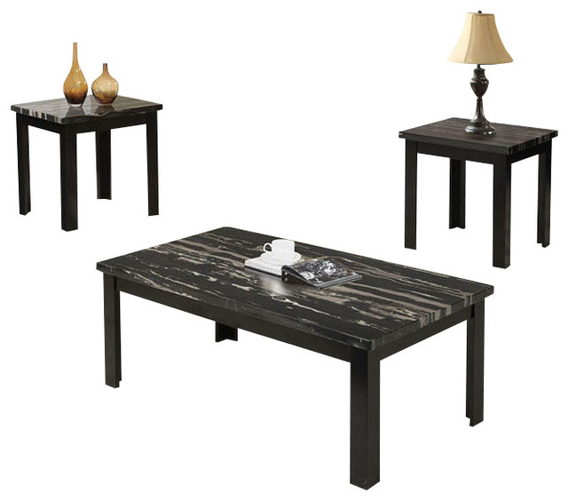 Adarn Inc 3 Piece Wooden Block Legs Black Faux Marble Top Coffee End Occasional Table Set