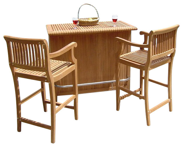 Giva 3 Piece Outdoor Teak Bar Set, Bar Cabinet With 2 Bar Arm Chairs