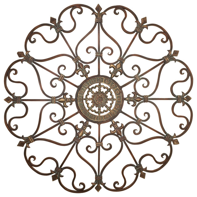 Metal Fleur De Lis Scrolling Wall Decor victorian-metal-wall-art