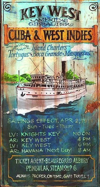 Vintage Beach Signs Key West Charters Large Rustic