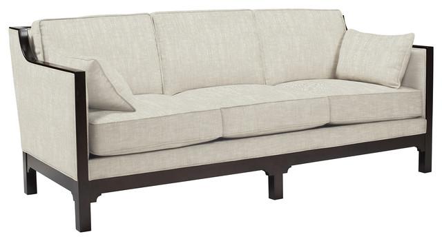 Lila Contemporary Straight Arm Exposed Dark Wood Sofa .
