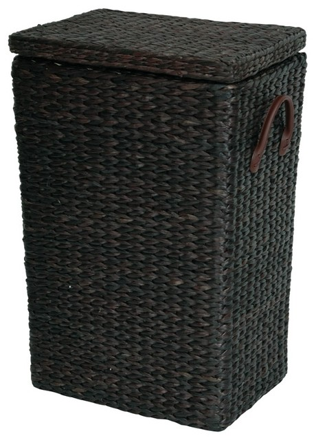 Oriental Furniture Exotic Woven Rush Grass Laundry Basket