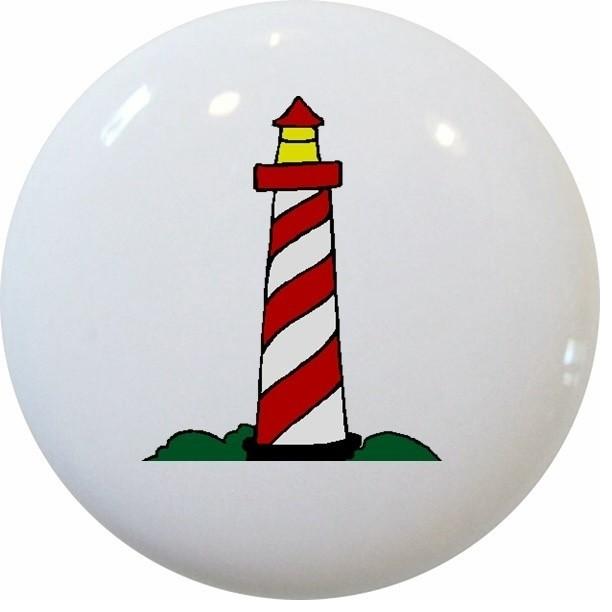 Carolina Hardware and Decor, LLC - Red Lighthouse Nautical Ceramic Knob & Reviews | Houzz