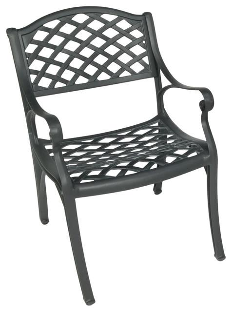 Crossweave Solid Cast Aluminum Patio Chair