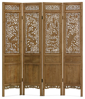 Captivating Hand Carved Cedar Wood Peacocks Motif Intaglio Floor Screen   Asian    Screens And Room Dividers   By China Furniture And Arts