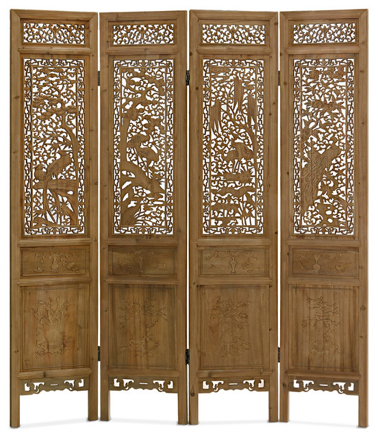 Hand Carved Cedar Wood Peacocks Motif Intaglio Floor Screen Asian Screens  And Room