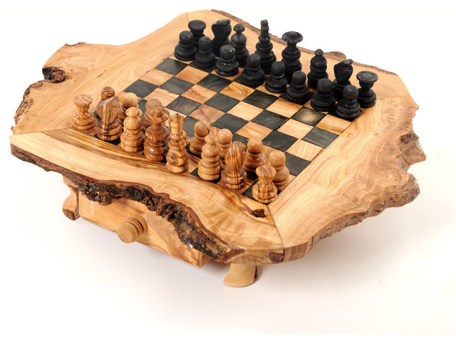 Handcrafted Large Olive Wood Rustic Chess Set, Chess Game Board  Rustic Board Games