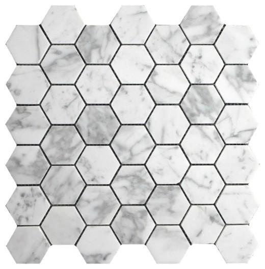 11 89 X12 71 Italian Carrara Bianco Honed Hexagon Mosaic Tile Single Sheet