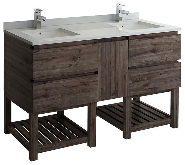 Open Bottom Double Sink Modern Bathroom