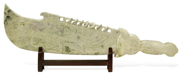 Hand Carved Imperial Jade Dragon Sword  Asian Decorative Objects And Figurines