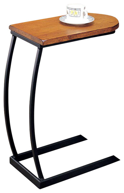 Shop houzz co fine furniture u shaped distressed oak for Black wood end tables