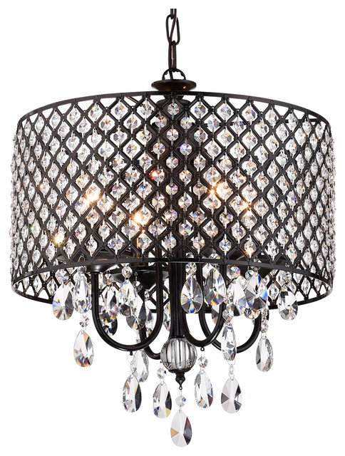 Afaura Antique Black Round Drum Shade 4 Light Crystal Chandelier Ceiling Fixture