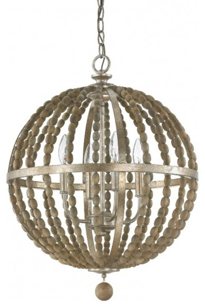 Lowell 4-Light Pendant, Tuscan Bronze With Wood Beads.