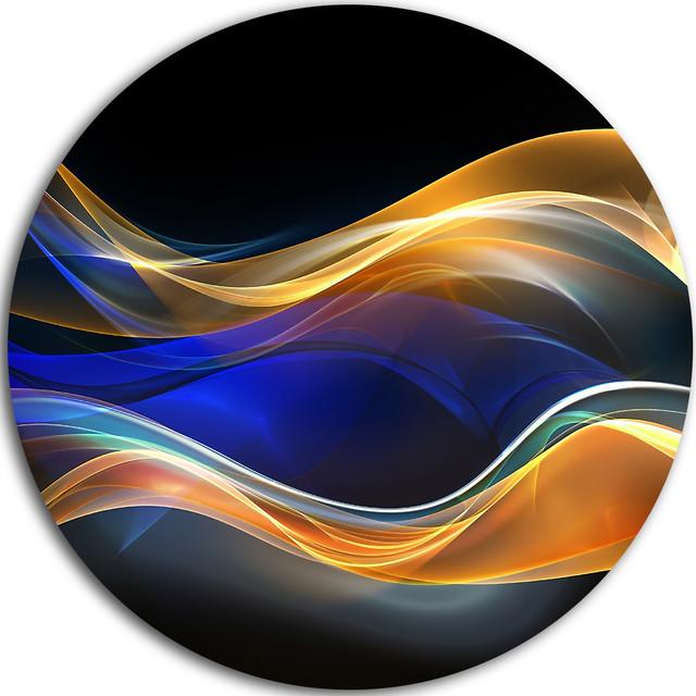 Gold Blue Wave Design Abstract Digital Art Disc Metal Wall 11