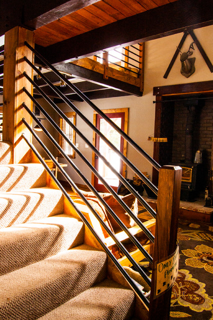 Serene Lakes Cabin Rustic Staircase