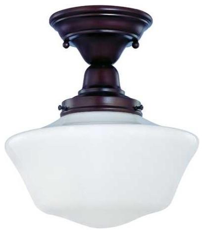 10 bronze schoolhouse semi flushmount ceiling light fbs. Black Bedroom Furniture Sets. Home Design Ideas