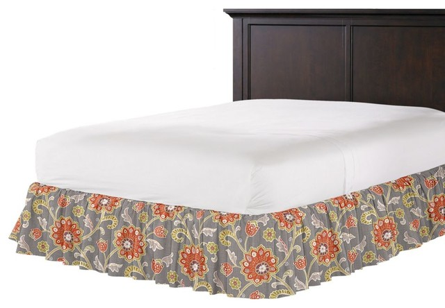 Modern Coral And Gray Floral Ruffle Bed Skirt