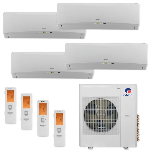 Gree 36k Btu Terra 4 Zone Mini Split A/c Heat Pump 208-230v (9, 9, 9, 9).